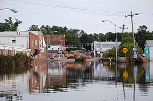Colfax, Iowa - Part of downtown Colfax was flooded in 2010.