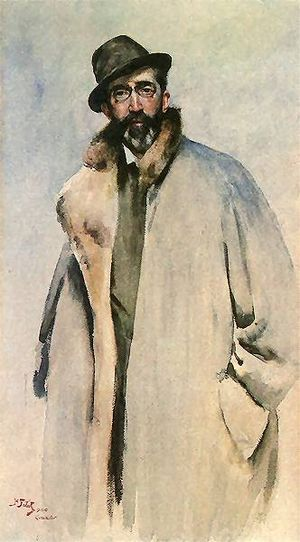 Coat (clothing) - Man wearing a coat, painting by Julian Fałat, 1900