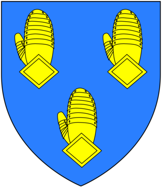 Henry Fane (British Army officer) - Arms of Fane, Earls of Westmorland: Azure, three dexter gauntlets back affrontée or
