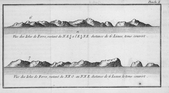 The Faroe Islands as seen by the French navigator Yves-Joseph de Kerguelen-Tremarec in 1767. Faroe Islands, 1767, as seen by Yves de Kerguelen Tremarec.PNG
