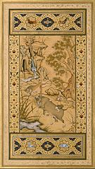 Leaf from the Muraqqa Gulshan- A Buffalo Fighting a Lioness (recto) Calligraphy (verso)