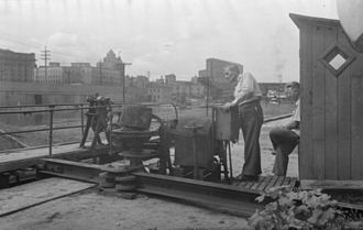 Lachine Canal - Doors opening a lock. Lachine Canal, August 7, 1948.