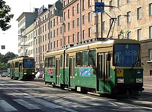 Helsinki tram - Two Valmet Nr I trams, the one in the front on line 4 and the one behind on its way to Töölö tram depot.