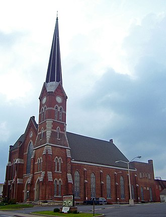 Middletown, Orange County, New York - The First Congregational Church, built in 1872, has the tallest spire downtown