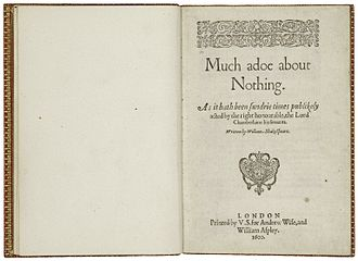 Much Ado About Nothing - The title page from the first quarto edition of Much Adoe About Nothing, printed in 1600.