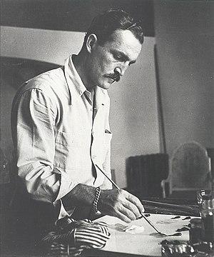 Fletcher Martin - Fletcher Martin at work in his studio, circa 1945