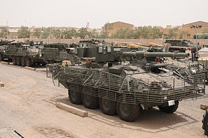 M1128 Mobile Gun System - A Mobile Gun System and other Strykers shortly before being flown into Afghanistan in 2008