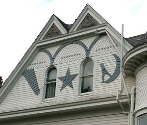 Siding - Highly decorative wood-shingle siding on a house in Clatskanie, Oregon, U.S.A.
