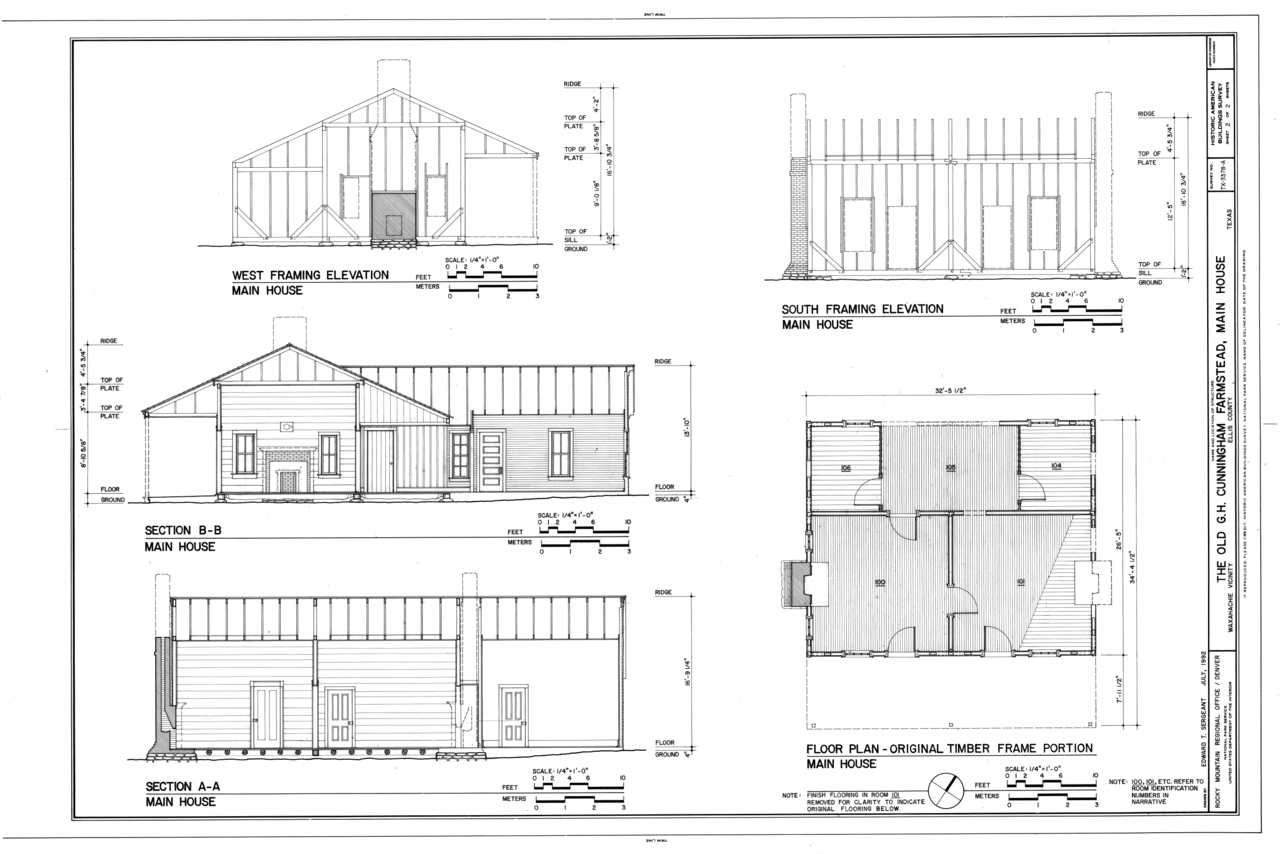 File floor plan of original timber frame portion south for House framing plans