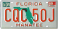 Florida license plate, 1986–1991 series with November 1989 sticker.png