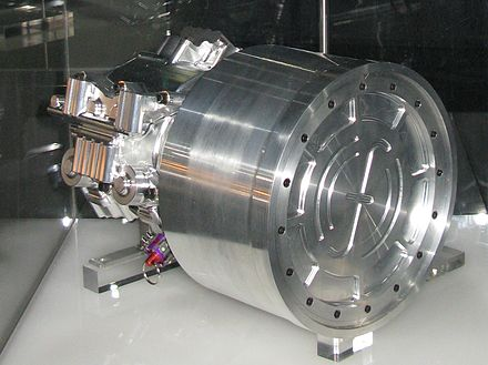 A Flybrid Kinetic Energy Recovery System flywheel. Built for use on Formula 1 racing cars, it is employed to recover and reuse kinetic energy captured during braking. Flybrid Systems Kinetic Energy Recovery System.jpg