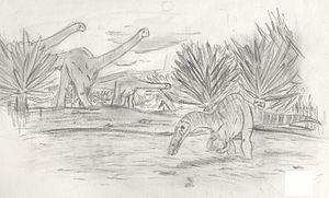 Siamosaurus - Phuwiangosaurus and Siamosaurus in their habitat