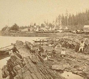 Wrangell Bombardment - View of Fort Wrangell under construction in background, Stikine in foreground, 1868