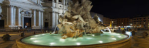 Fontana dei Quattro Fiumi - Fountain of the Four Rivers by night – river god Ganges in the front.