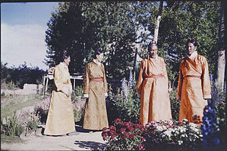 Ngapoi Ngawang Jigme - Tsipon Ngapoi is pictured 2nd from left at Dekyi Lingka in Lhasa, Tibet