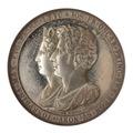 Framsida av medalj med bild av Oscar och Josefina i profil samt text - Skoklosters slott - 99622.tif