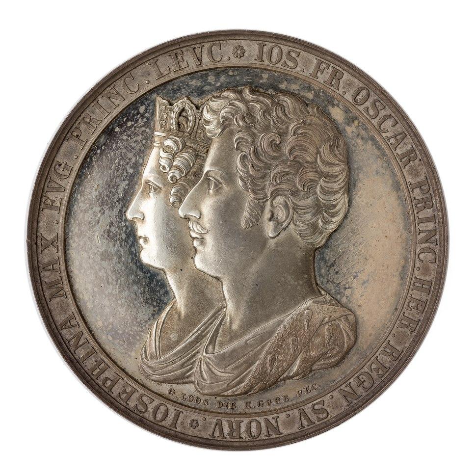 Framsida av medalj med bild av Oscar och Josefina i profil samt text - Skoklosters slott - 99622