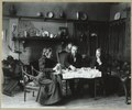 Frances Benjamin Johnston having tea with Elbert Hubbard (far right) and and lecture manager James Burton Pond (center) at her studio in Washington, D.C. LCCN2001697175.tif