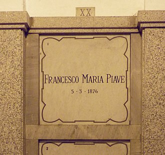 Francesco Maria Piave - Piave's grave at the Monumental Cemetery of Milan