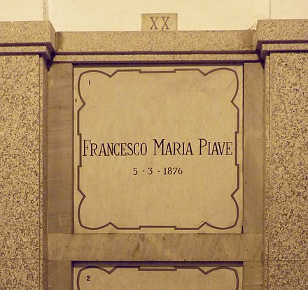 Piave's grave at the Monumental Cemetery of Milan Francesco Maria Piave grave Milan 2015.jpg