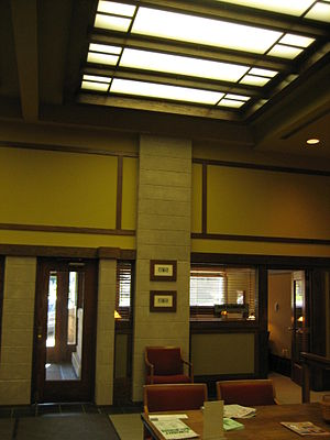 Frank L. Smith Bank - The interior skylight is now electrically backlit.