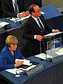 Frankreichs Staatschef François Hollande und Bundeskanzlerin Angela Merkel im Parlement Européen am 07.10.2015 - panoramio.jpg