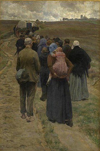 Scherpenheuvel-Zichem - Pilgrims travelling to the Scherpenheuvel, depicted in a tryptich by Frans Van Leemputten (1903–05)