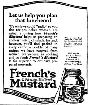 French's - French's Cream Salad Mustard ad from 1922.