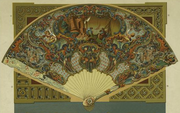 Depiction of an 18th century folding fan with French design patterns.