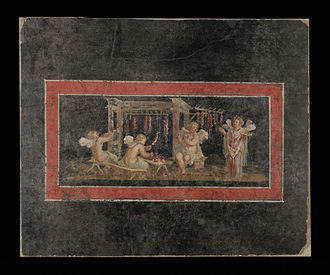 Rosalia (festival) - The making of rose garlands by multiple Cupids and Psyches, in a wall painting from Pompeii: the Psyche on the right holds a libation bowl, a symbol of religious piety often depicted as a rosette