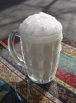 Glass mug of fresh ayran as found in Maltepe, ...