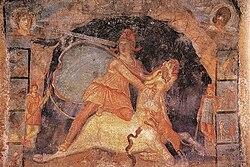 Митра убивает быка фреска из митреума