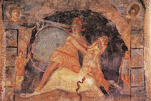 Drapery - Fresco of Mithras and the Bull from the mithraeum at Marino, (3rd century CE)