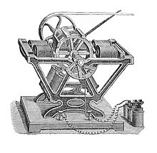 A larger motor with a cast iron frame and four coils. The rotor drives a belt drive to some other machine