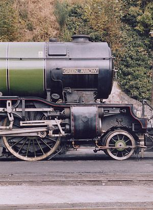 Gresley conjugated valve gear - LNER Class V2 4771 Green Arrow. Note Gresley conjugated valve gear located ahead of the piston valves, driven from the valve spindles