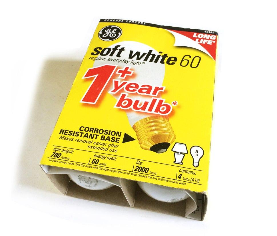 GE 60 watt package light bulbs