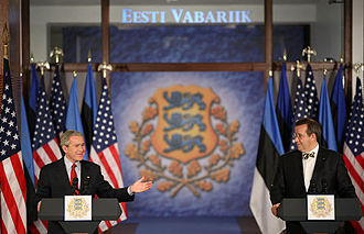Foreign relations of Estonia - President Toomas Hendrik Ilves and President George W. Bush, in Estonia 2006.