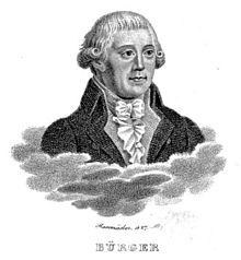 Porträt Gottfried August Bürgers. Kupferstich von Rosmäsler, 1827 (Quelle: Wikimedia)