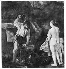 Venus and Amor in Vulcan's Smithy
