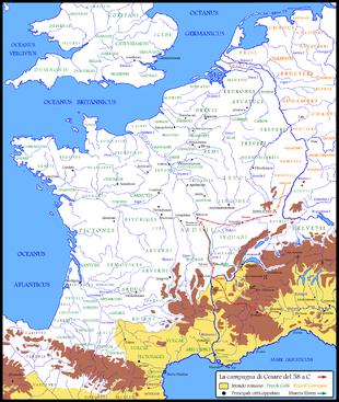 La campagna di Cesare del 58 a.C..