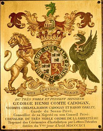 Garter stall plate - Image: Garter Plate Henry Cadogan 5th Earl Cadogan 1891