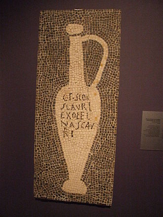 "Brand management - Mosaic showing garum container, from the house of Umbricius Scaurus of Pompeii. The inscription which reads ""G(ari) F(los) SCO(mbri) SCAURI EX OFFI(CI)NA SCAURI"" has been translated as ""The flower of garum, made of the mackerel, a product of Scaurus, from the shop of Scaurus"""