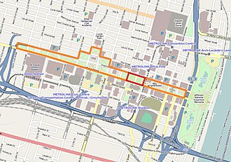 Citygarden - In this map of downtown St. Louis, the Gateway Mall is outlined in orange and Citygarden in red.