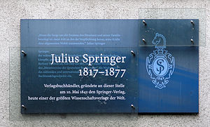 Julius Springer - Plaque at Breite Straße 11 in Berlin-Mitte