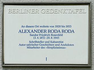 Alexander Roda Roda - Memorial plaque, Berlin