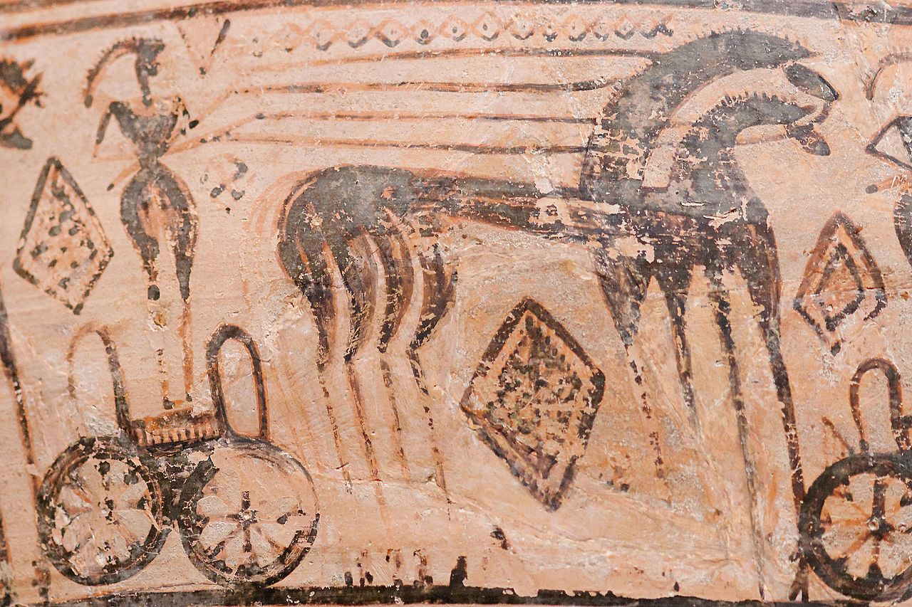Detail of a chariot from a late Geometric krater attributed to the Trachones workshop (c. 725 BCE), Metropolitan Museum of Art, New York, USA.