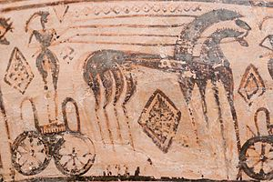 Geometric art - Detail of a chariot from a late Geometric krater attributed to the Trachones workshop on display at the Metropolitan Museum of Art