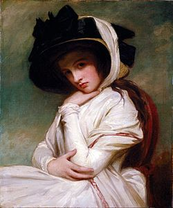 George romney   emma hart in a straw hat