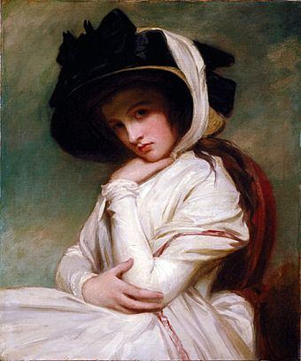 Emma Hamilton, Nelson's mistress and mother of his daughter Horatia, in a 1782-84 portrait by George Romney, depicting Emma at the height of her beauty (around age 17). George Romney - Emma Hart in a Straw Hat.jpg