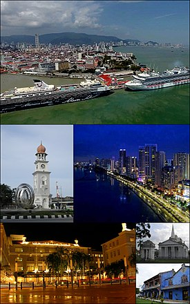 Clockwise from top: Skyline of George Town, skyscrapers at Gurney Drive, St. George's Church, Cheong Fatt Tze Mansion, Eastern & Oriental Hotel, Queen Victoria Memorial Clock Tower